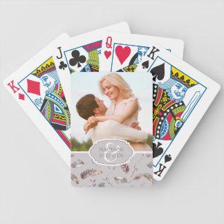 Vintage Feder und Blumenmuster - Hochzeits-Foto Spielkarten