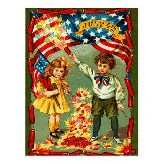 Vintage Feuerwerke und Kinder Postkarte