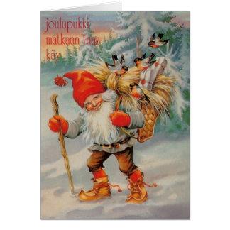Vintage finnische Joulupukki Weihnachtskarte Grußkarte