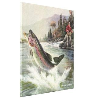 Vintage Fischer-Fischen-Regenbogenforelle-Fische Leinwanddruck