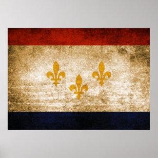 Vintage Flagge von New Orleans Poster