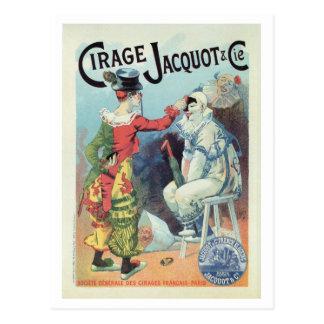 Vintage französische Schuhpolituranzeige, Clowns Postkarte
