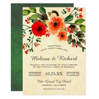 Vintage Frühlings-Blüten-laden Blumenlaub-Hochzeit Karte