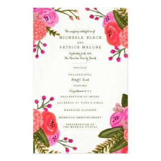 Vintage Garten-Hochzeits-Programme Flyer