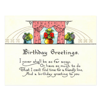 Vintage Geburtstags-Grüße Postkarte