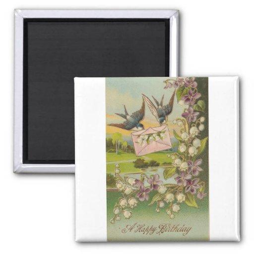 Vintage Geburtstags-Vogel-lila Blumen Kühlschrankmagnet