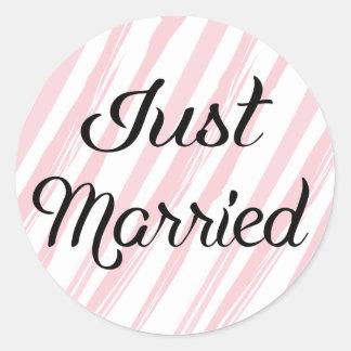Vintage gerade verheiratete rosa u. weiße Wedding Runder Aufkleber