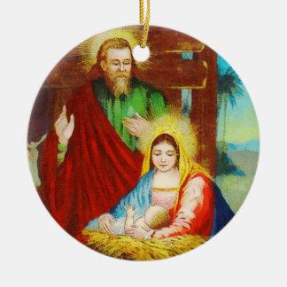 Vintage göttliche Nativity-Szene Rundes Keramik Ornament