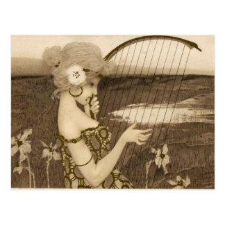 Vintage griechische Jungfrau mit Harfen-Postkarte