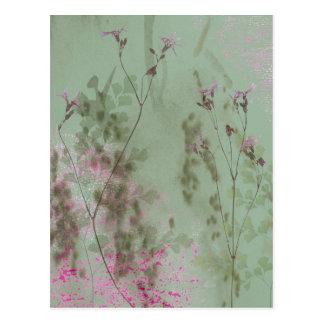 Vintage grüne und lila Blumen Postkarte