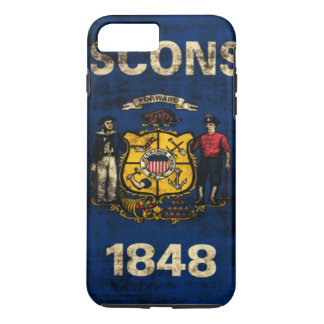 Vintage Grunge-Staats-Flagge von Wisconsin iPhone 8 Plus/7 Plus Hülle