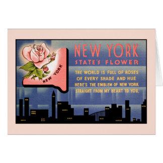 Vintage Grüße der New- YorkStaats-Blume von Karte