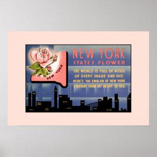 Vintage Grüße der New- YorkStaats-Blume von Poster