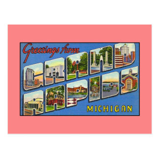 Vintage Grüße von Grand Rapids MI Postkarte