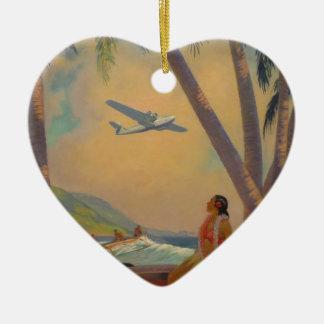 Vintage hawaiische Reise - Hawaii-Mädchen-Tänzer Keramik Herz-Ornament