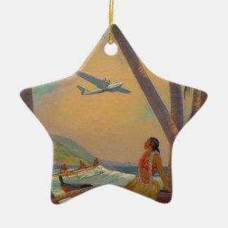Vintage hawaiische Reise - Hawaii-Mädchen-Tänzer Keramik Stern-Ornament