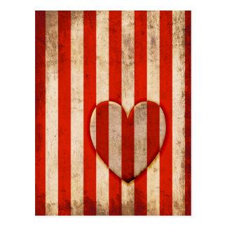 Vintage Herz-Rot-Streifen Postkarten