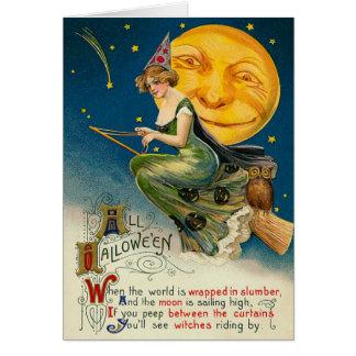 Vintage Hexe-Halloween-Karten, fliegend auf ihren Grußkarte