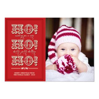 Vintage HO HO HO Feiertags-Foto-Weihnachtsgrüße 12,7 X 17,8 Cm Einladungskarte