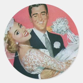 Vintage Hochzeit, Bräutigam-tragende Braut, Runder Aufkleber