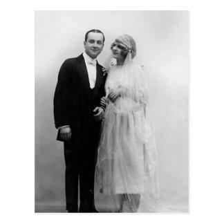 Vintage Hochzeit die Braut und der Bräutigam Postkarte