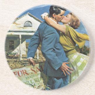 Vintage Hochzeit, Jungvermählten-Kauf-erstes Haus Sandstein Untersetzer