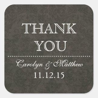 Vintage Hochzeit Shabby Chic-Browns danken Ihnen Quadrat-Aufkleber