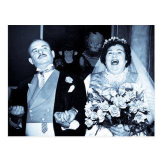 Vintage Hochzeits-Bild-glückliche Paar-lustige Postkarte