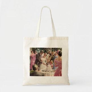 Vintage Hochzeits-Braut-Bräutigam-Jungvermählten Budget Stoffbeutel