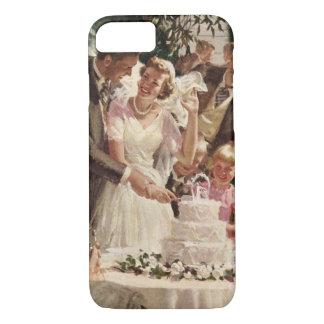 Vintage Hochzeits-Braut-Bräutigam-Jungvermählten iPhone 8/7 Hülle