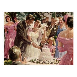 Vintage Hochzeits-Braut-Bräutigam-Jungvermählten Postkarten