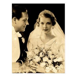Vintage Hochzeits-Braut und Bräutigam Postkarte