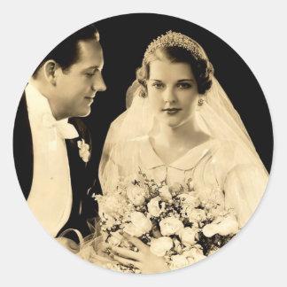 Vintage Hochzeits-Braut und Bräutigam Runder Aufkleber