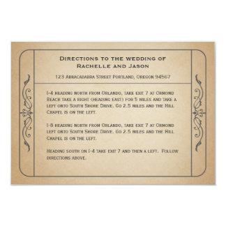 Vintage Hochzeits-Karten-Antriebsdrehrichtungen 8,9 X 12,7 Cm Einladungskarte