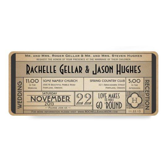 Vintage Hochzeits-Karten-Einladung IV -- 40s Ära 10,2 X 23,5 Cm Einladungskarte