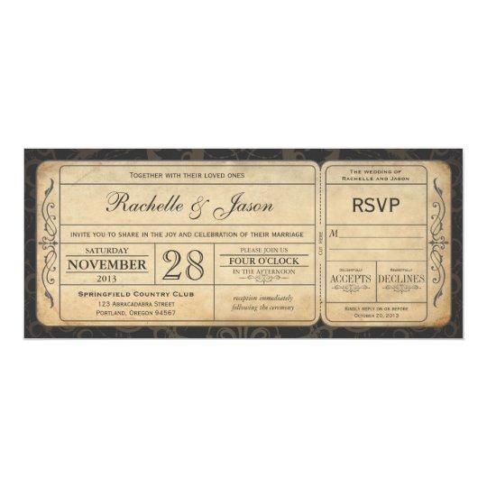 Vintage Hochzeits-Karten-Einladung mit UAWG 3,0 Karte