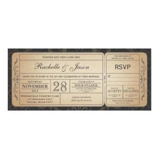 Vintage Hochzeits-Karten-Einladung mit UAWG 3,1 10,2 X 23,5 Cm Einladungskarte