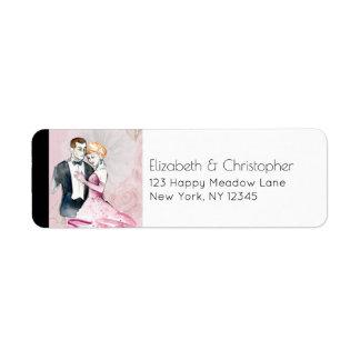 Vintage Hochzeits-Paare auf rosa personalisiertem Rückversand-Adressaufkleber