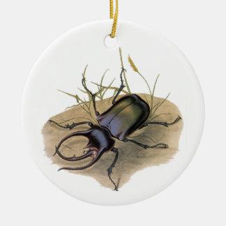 Vintage Insekten und Wanzen, Rhino-Nashorn-Käfer Keramik Ornament