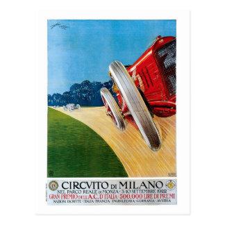 Vintage italienische Zwanzigerjahre laufende Autos Postkarte