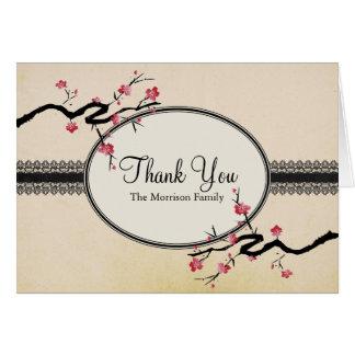 Vintage japanische Kirschblüte danken Ihnen zu kar Mitteilungskarte