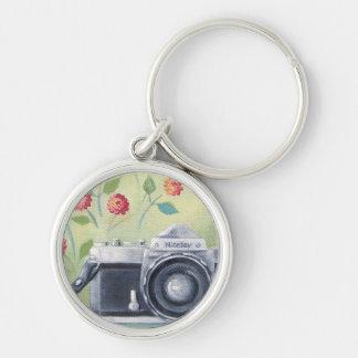 Vintage Kamera u. Blumen Keychain Schlüsselanhänger