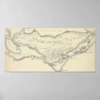 Vintage Karte der Insel von Montreal, Quebec Poster