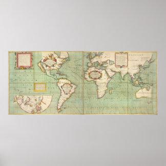 Vintage Karte der Welt (1702) Poster