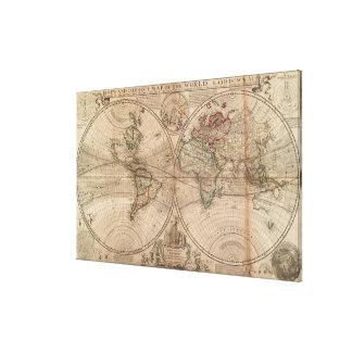 Vintage Karte der Welt (1709) Gespannte Galeriedrucke