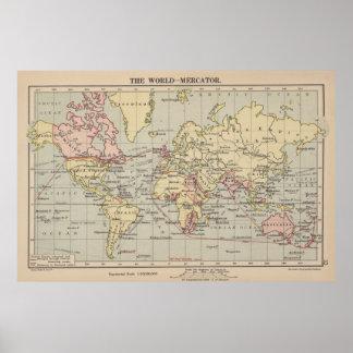 Vintage Karte der Welt (1914) Poster