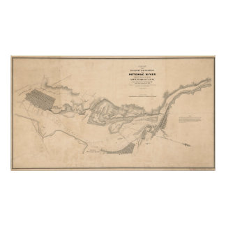 Vintage Karte des Potomacs (1838) Poster