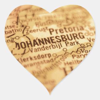 Vintage Karte JOHANNESBURGS Herz-Aufkleber