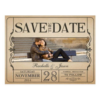 Vintage Karte Save the Date Postkarte
