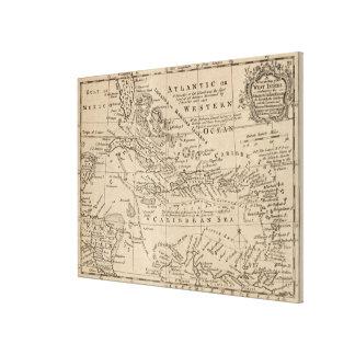 Vintage Karte vom karibischen (1763) Gespannter Galerie Druck